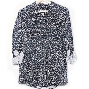 Express Boyfriend Long-Sleeve Floral Button Down
